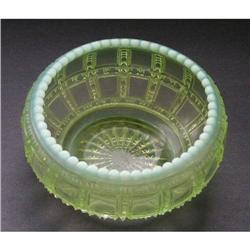 Beaded Block Vaseline Opalescent Glass Bowl #2385330