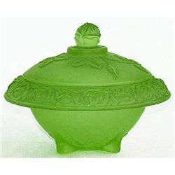Walther ROSEN Green Art Deco Glass Powder Jar #2385332