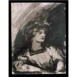 Black Ink Drawing Portrait of Lady #2385701