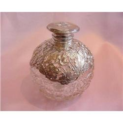 English Sterling Mounted Crystal Perfume Bottle#2389543