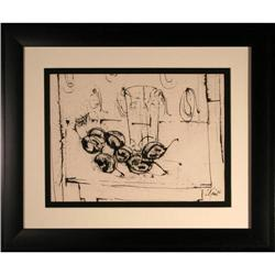 """Plums and Glass"" by Harold Cohn  Ink Drawing  #2389554"