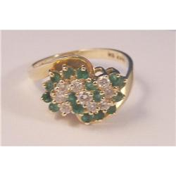Emerald and Diamond Cluster Ring #2389723