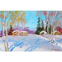 """""""March. Shadows"""" oil in impressionism style #2389766"""