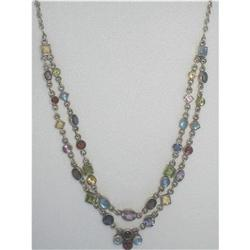 Multi Gemstone & Silver Double Strand Necklace #2389828