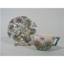 Etruscan Majolica Shell & Seaweed Cup & Saucer #2389859