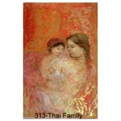 Thai Family    lithograph by Edna HIbel #2389870