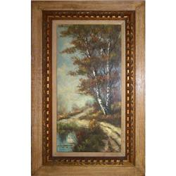 ORIG LANDSCAPE OIL PAINTING BIRCH TREES IN #2389935