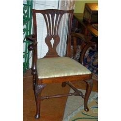 18th Century English  Armchair with Carved #2390058