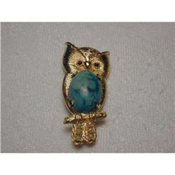 Estate 14K YG Ruby Seed Pearl Turquoise Owl Pin#2390098