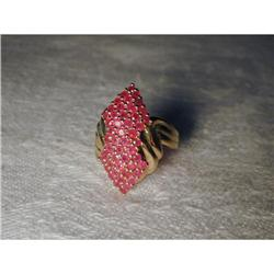 Estate 14K YG Gold Pave Ruby Marquise Ring #2390111