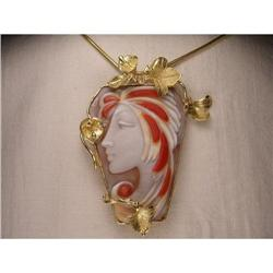 18K YG Gold Carved Cameo Coral Pendant Brooch #2390116