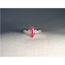 Estate 14K WG Gold Marquise Ruby Diamond Ring #2390192