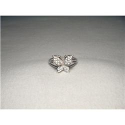 14K White Gold WG Pave Diamond Butterfly Ring #2390225