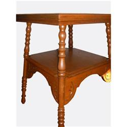 Carved Oak Lamp Table #2390474