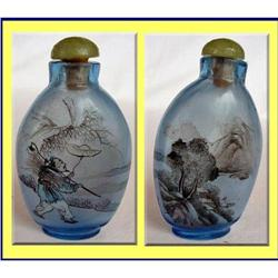 CHIEN-LUNG CHINESE PAINTED BLUE GLASS SNUFF #2390515