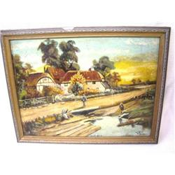 William Lade  Days End Oil on Board Painting #2390529