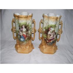 Pair of Porcelain Hand Painted Vases #2390530