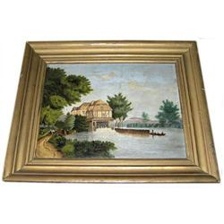 19th c French River Mill Folk Painting #2382085