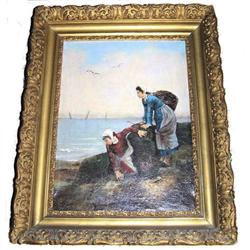 19th c GETZ French Oyster Gatherers Genre #2382087