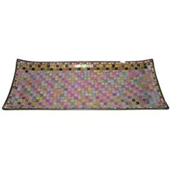 Vintage Jewelled Mosaic Glass Serving Tray #2382140