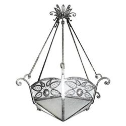 French Art Deco Wrought Iron Chandelier #2382189