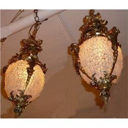 Pair of French  Beaded Chandeliers Lanterns #2382292