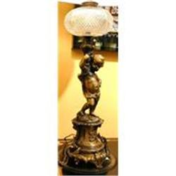 Pair of Antique Cherub Lamps #2382298