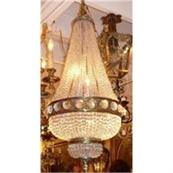 French Bronze and Crystal Beaded Chandelier #2382303