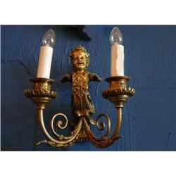 Antique Pair of European Dore' Bronze Sconces #2382312