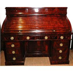 American Antique Mahogany Cylinder Desk #2382331