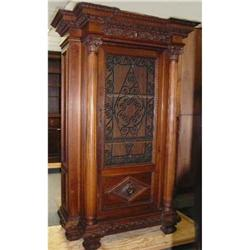 Antique Carved Walnut Cabinet Cupboard Bookcase#2382332