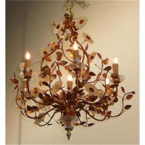 Tole chandelier with glass flowers 2382376 mozeypictures Image collections