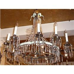 Antique French Crystal An Tole Chandelier #2382457