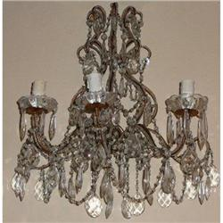Pair of Italian Crystal Sconces Wall Lights  #2382461