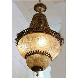 Beaded Crystal Silver Tone Chandelier  Fixture #2382462