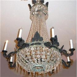 Antique Iron and Crystal Chandelier #2382477