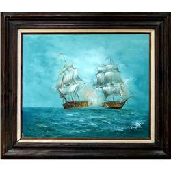 ORIG OIL PAINTING OF 2 LG RACING CLIPPER SHIPS #2382481