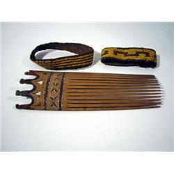 TWO ARM BANDS AND A HAIR COMB, of bamboo and