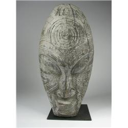 A MAORI CANOE ANCESTOR MASK, of wood in class