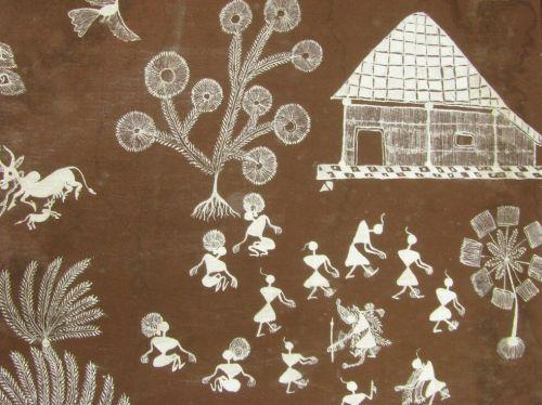 Warli art maharashtra white rice flower ear image 6 warli art maharashtra white rice flower ear altavistaventures Image collections