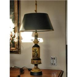 Metal Tole Lamp Yellow Black C.1920 #2366512