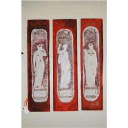 """Set of 3 Architectural """"Goddess"""" Panels Painted#2394246"""