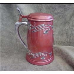 Red Patinated Tankard with Sterling Overlay #2394254