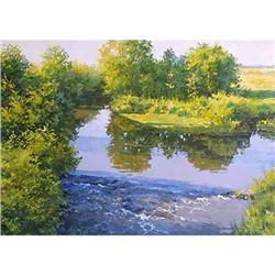 "Russian realistic painting ""Forest lake"" #2394394"