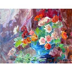 """Birthday. Roses"" oil in impressionism style. #2394415"