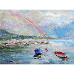 """Rainbow"" impressionism oil by Russian artist #2394419"