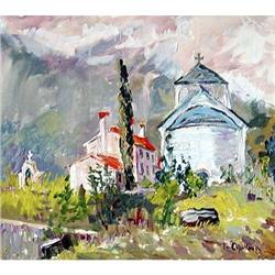 """Monastery in Budve"" oil in impressionism style#2394424"