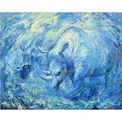 "Impressionism oil ""Two Rhinoceroses"" #2394432"