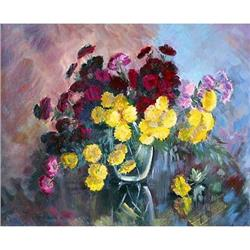 """To chrysanthemum"" oil in impressionism style. #2394438"