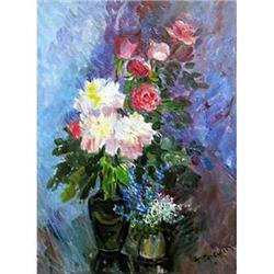 """""""Roses and peonies"""" oil in impressionism style #2394445"""